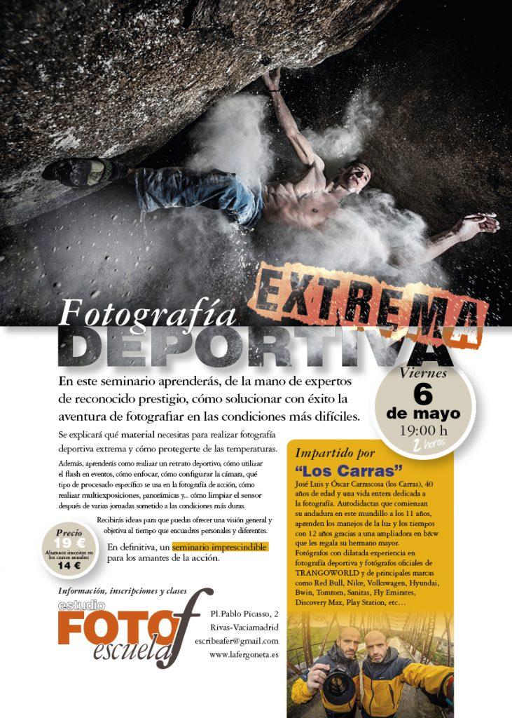 Cartel anunciador del seminario de fotografía deportiva extrema