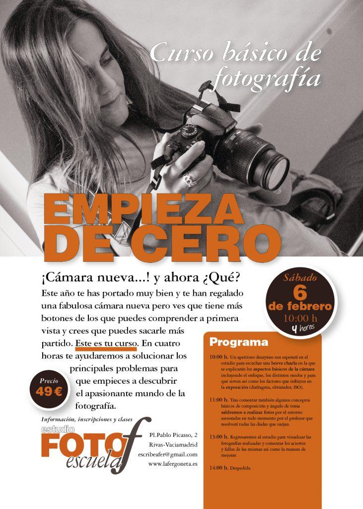 Cartel anunciador del Curso Intensivo de Iniciación a la fotografía